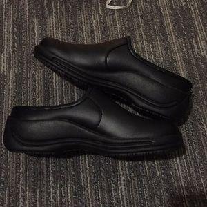 Dansko professional black leather clogs slide on